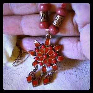 Vintage Enamel Flower w/Dangles Pendant Necklace